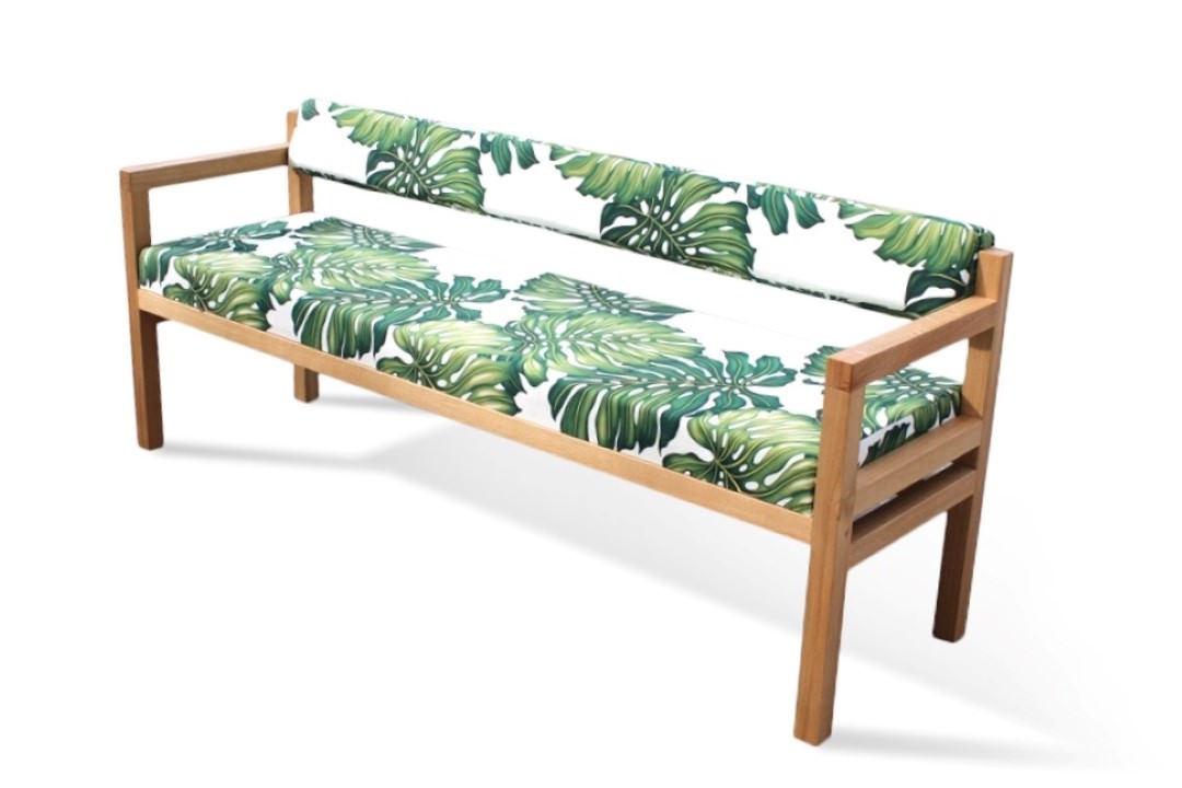 The Govan Bench in Green Bespoke Fabric