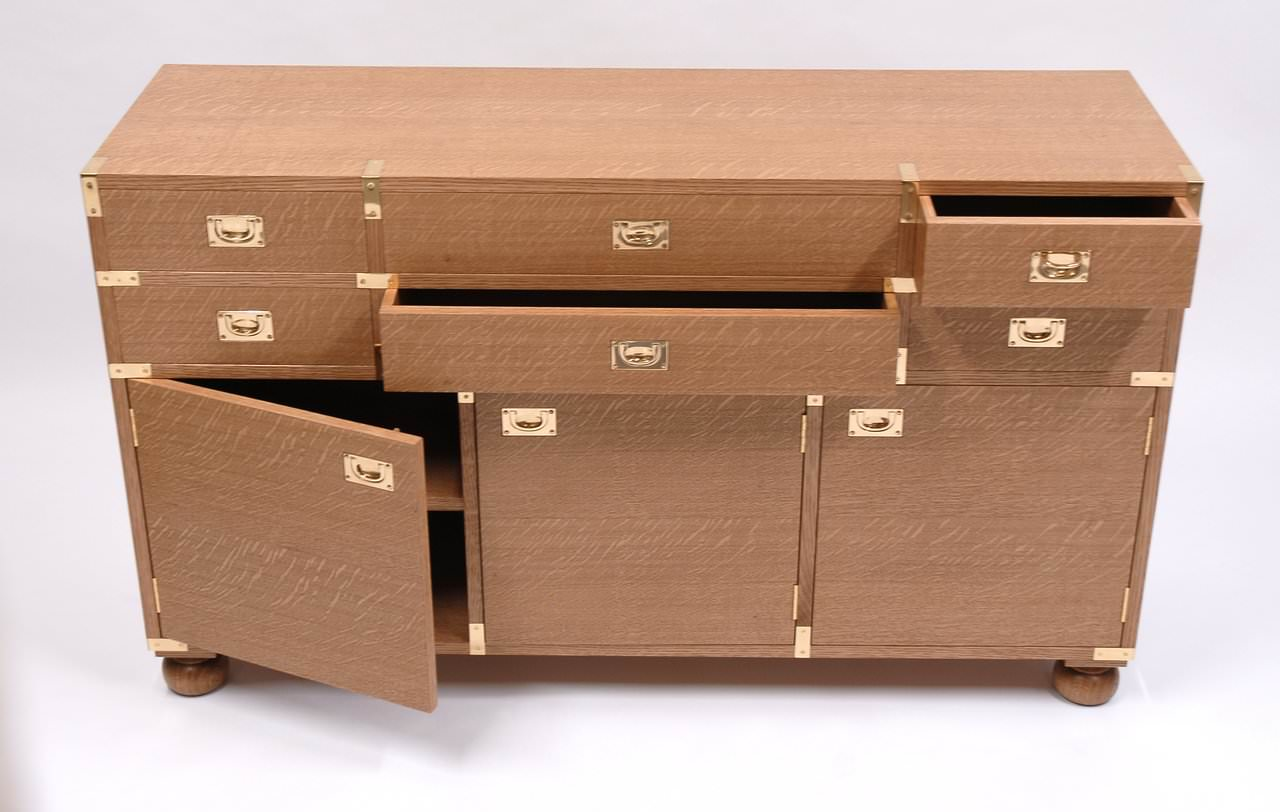 Quarter Sawn Oak Campaign Chest With Dovetailed Drawers