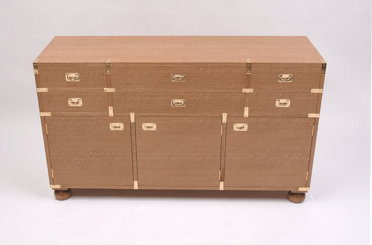 Handmade Oak Campaign Chest For Dressing Room